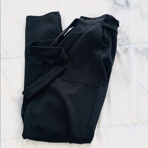 High-Waisted Tie-Belt Black Paperbag Waist Pants